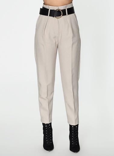 Loves You Paperbag Yüksek Bel Flanel Pantolon Taş